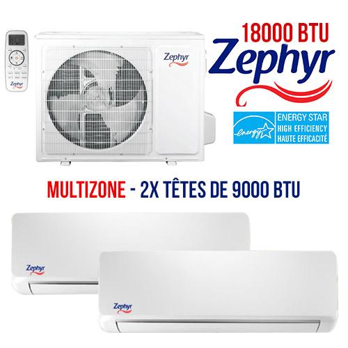 thermopompe Zephyr Multizone 18000 btu energystar